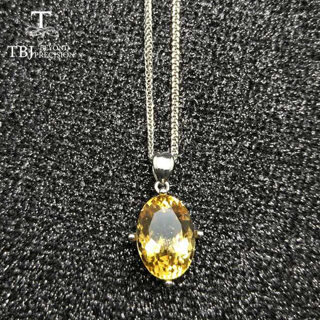 Tbjnatural 6ct brazil good color citrine gemstone pendant with tbjnatural 6ct brazil good color citrine gemstone pendant with chains in 925 sterling silver mozeypictures Gallery