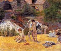 High quality Oil painting Canvas Reproductions Bathing Place (1886) by Paul Gauguin hand painted