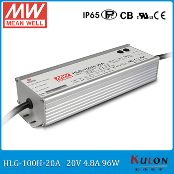 Original MEAN WELL HLG-100H-20A IP65 Waterproof adjustable LED Driver Single output 96W 20V 4.8A Switching Power Supply with PFC