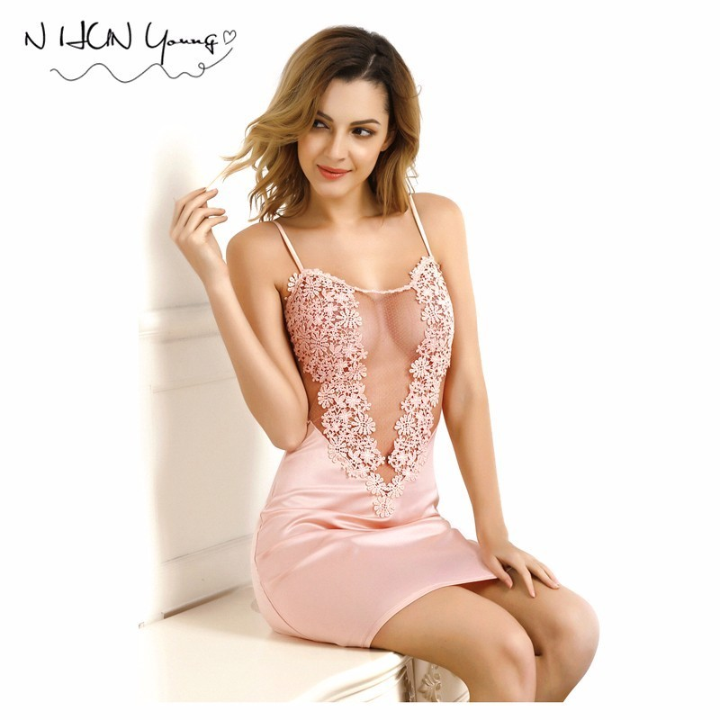 Summer Women's Sleepwear Female Sheer Nightgown Lace Dress Rayon Nightdress Negligee Dress Gown Sexy Lingerie JF001