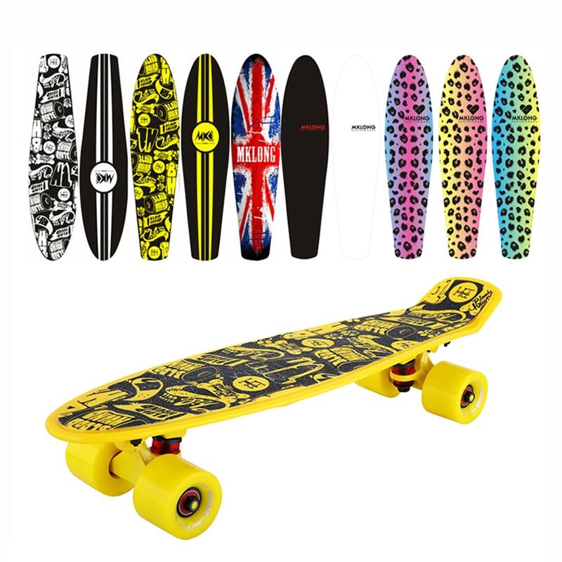 Cruiser pas cher peny carte originale complète Skateboard 22 griptape Retro Mini Skate longue planche Cruiser longboard roues led lumière