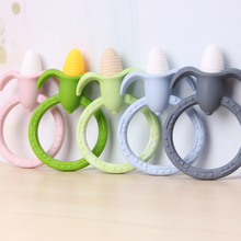 Chenkai 10PCS BPA Free Silicone Baby Corn Teether Ring Pendant DIY Shower Pacifier Dummy Nursing Toy Accessories