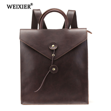 WEIXIER 2019 New Retro PU Mens Fashion Multi-function Solid Color Backpack Casual High Quality Handsome Computer