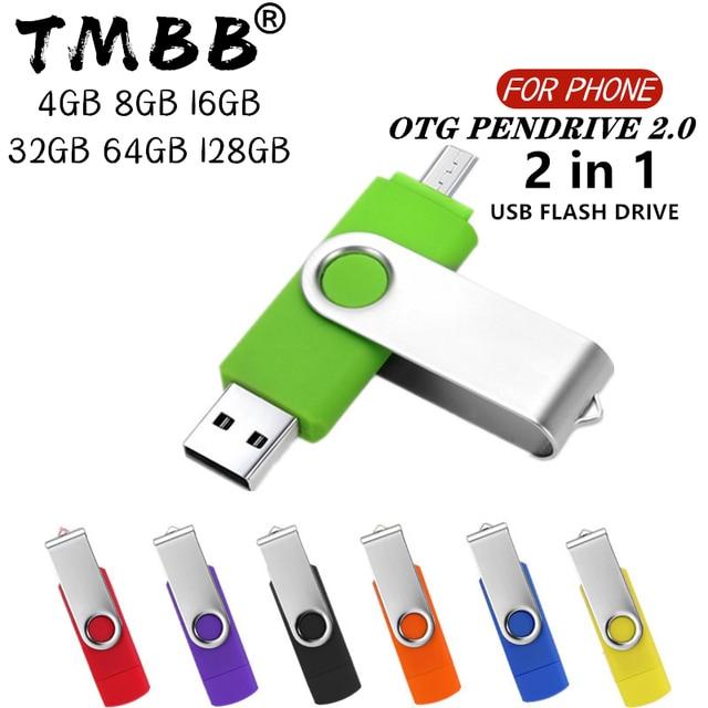 360° Rotate OTG USB Flash drive cle 64G USB 2.0 Smart Phone pen drive 4g 8g 16g 32g 128g micro usb memory storage devices U disk