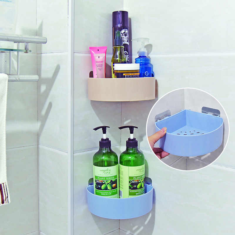 Strong Suction Cup Wall Corner Shelf Kitchen Bathroom Storage Rack Shower Organizer Shampoo Holder Household Items