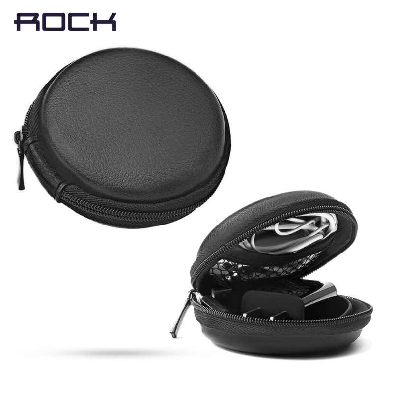 ROCK Earphone Case Headphone Srorage Bag for Apple Airpods Mini Ear Pads Accessorries Round Box for SD TF Card Cable U Disk