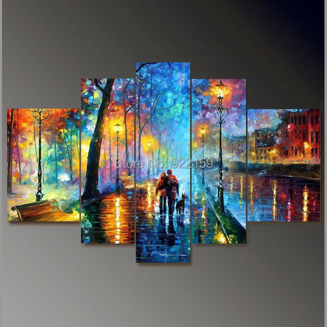 handpainted 5 piece palette knife oil paintings on canvas