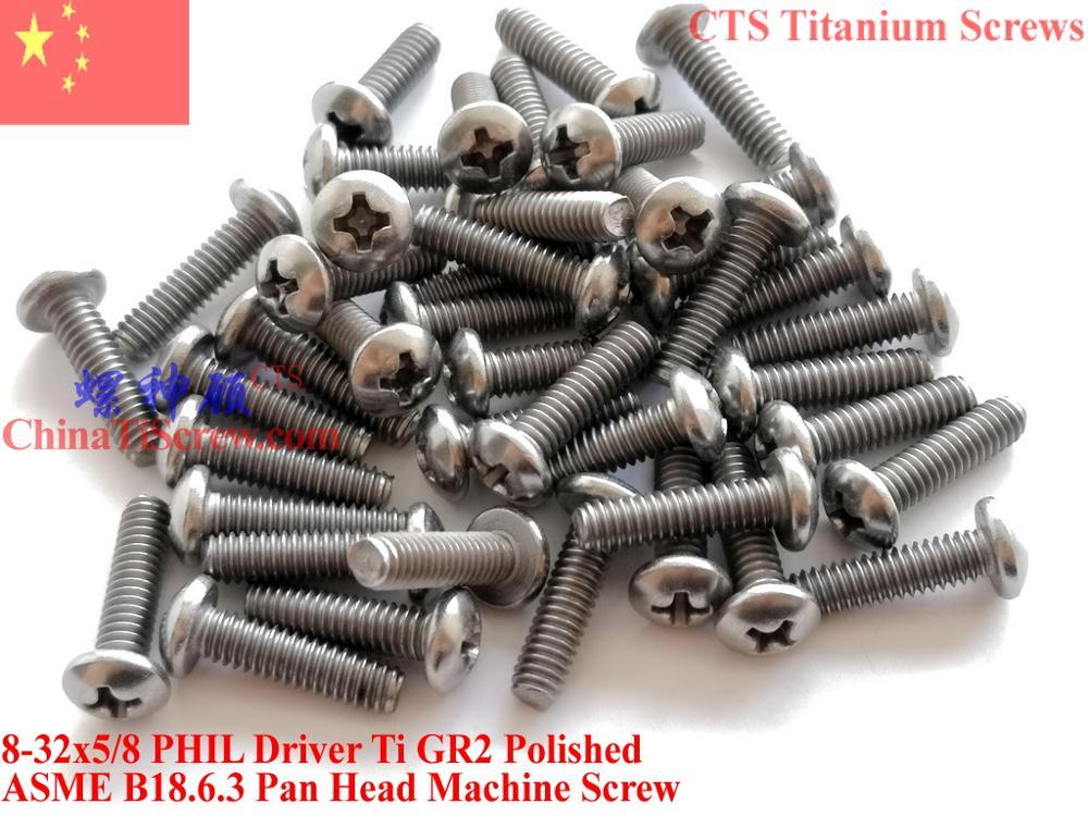Титановые винты 8-32x5/8 сковорода головка 2# Phillips драйвер Ti GR2 полированная 50 шт