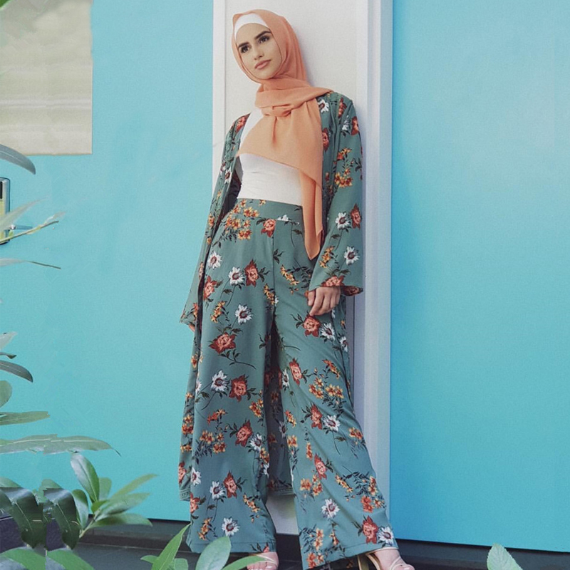 Abaya Kimono Set Kaftan Robe Dubai Islam Muslim Hijab Dress Caftan Marocain Ramadan Elbise Qatar Oman Turkish Islamic Clothing