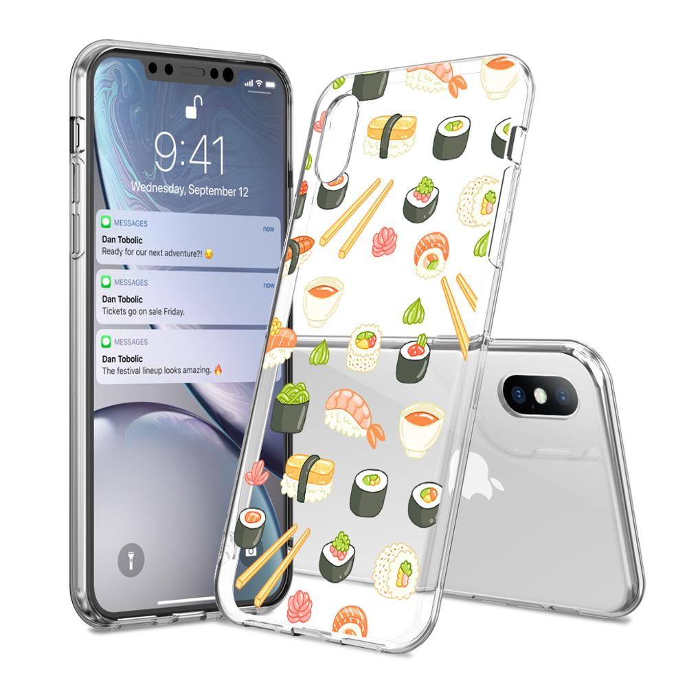1900dd239c The Case For iPhone X 8 7 7Plus Cute Cactus Food Sushi Doughnut Donuts Phone  Cases For iPhone 5S 6 S Plus XS MAS XR Back Cover