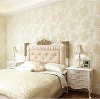 Modern European contracted 3 d embossed non woven wallpaper Sweet bedroom living room TV setting wall paper