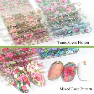 Image 2 - 10 stücke Blume Nail art Folien Transfer Slider Mixed Designs Rose DIY Aufkleber Decals Folie UV Gel Kleber Wraps Zubehör CH798