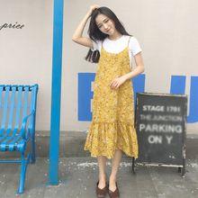 Women Spaghetti Strap Floral Ruffle Dress Sleeveless Tank Casual Vintage Sundress
