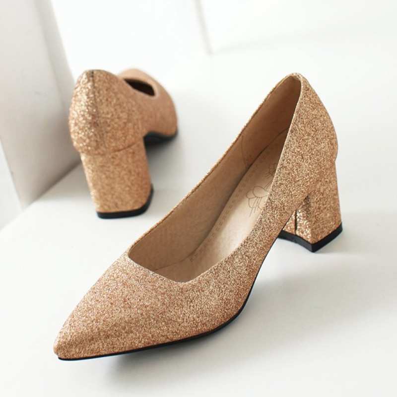 Square Heel Shoes Woman Wedding Shoes Pointed Toe Women Pumps Bling Heels  Spring Ladies Shoes Chaussure Femme Size 32 45 G1883-in Women s Pumps from  Shoes ... d4c619bc3678