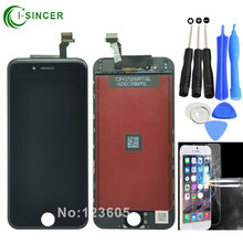 "Negro, blanco para el iphone 6 4.7 ""pantalla lcd con pantalla táctil digitalizador asamblea reemplazo para iphone 6 6g"