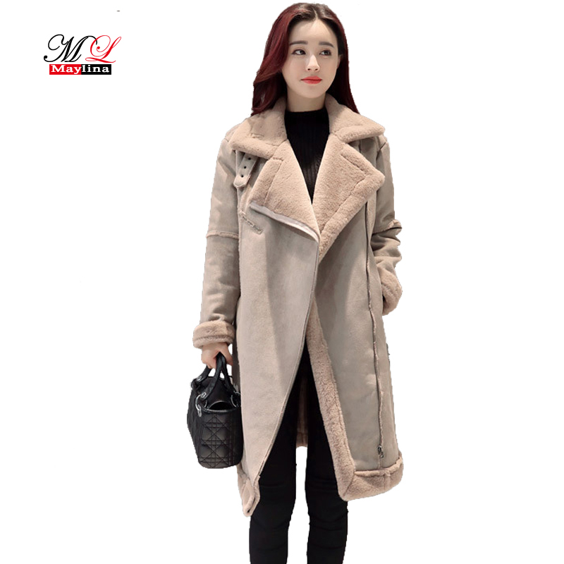 Maylina Winter Women Wool Cotton Fur Jacket Female Turn Down Collar Plus Size Super Warm Thicken