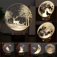 Carving 3D LED Night Lights USB Button Switch Christmas Lights Atmosphere Desk Lamps Earth Astronaut Moon