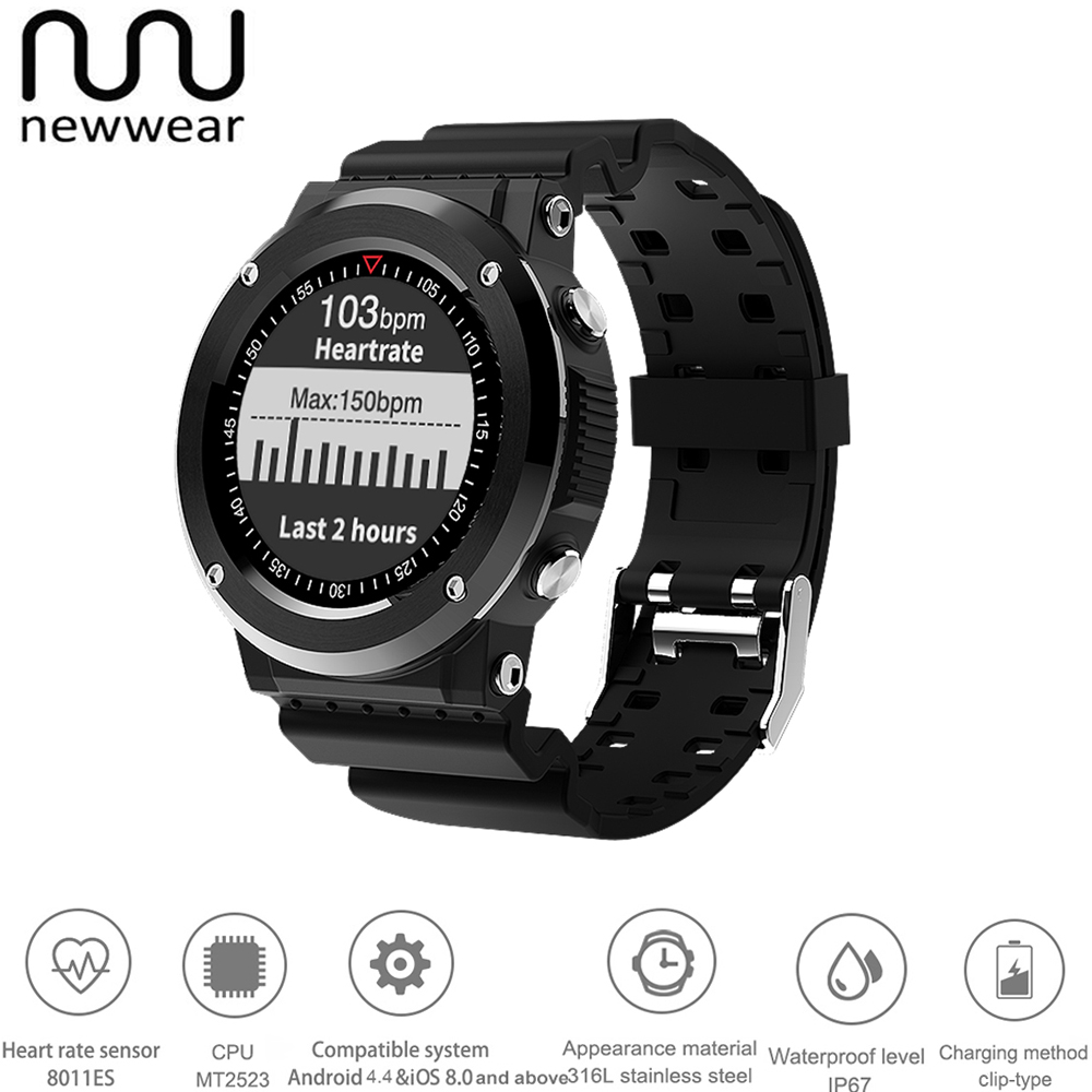 NEWWEAR Q6 IP67 Waterproof Bluetooth Smartwatch Heart Rate Monitor Sports Fitness Tracker Compass GPS Smart Watch Men Wearable colmi v11 smart watch ip67 waterproof tempered glass activity fitness tracker heart rate monitor brim men women smartwatch