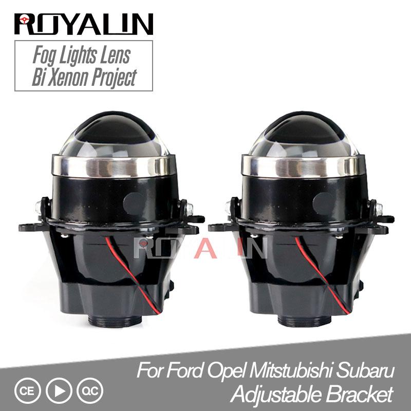 ROYALIN Adjustable For Ford Fog Lights Lens Bi Xenon Projector Lamp For Opel Mitsubishi Subaru Renault