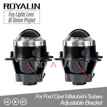 ROYALIN Adjustable For Ford Fog Lights Lens Bi Xenon Projector Lamp Opel Mitsubishi Subaru Renault D2S D2H Bulbs Retrofit
