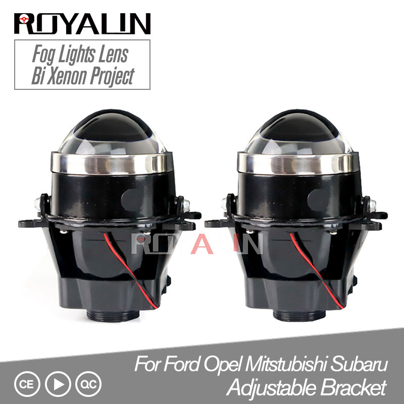 ROYALIN Adjustable For Ford Fog Lights Lens Bi Xenon Projector Lamp For Opel Mitsubishi Subaru Renault D2S D2H Bulbs Retrofit
