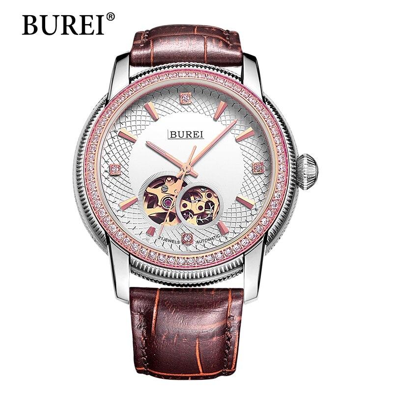 BUREI Skeleton Automatic Mechanical Watches Women Men Unisex Diamond Sapphire Hour Genuine Leather Strap Waterproof 50m Hot Sale