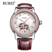 BUREI Skeleton Automatic Mechanical Watches Women Men Unisex Diamond Sapphire Hour Genuine Leather Strap Waterproof 50m Hot Sale