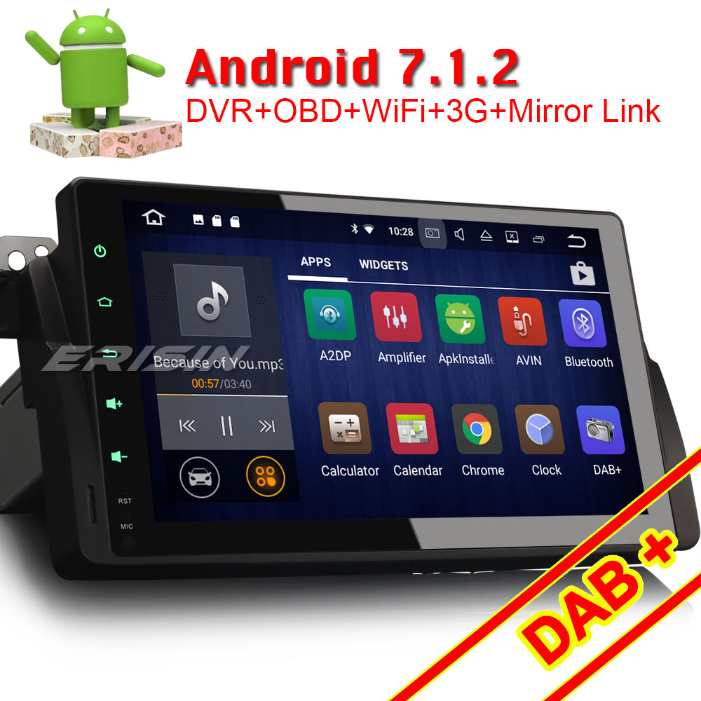 erisin es3496b 9 android 7 1 car dvd player dab for e46. Black Bedroom Furniture Sets. Home Design Ideas