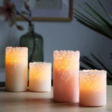 Carved flower Paraffin Wax Led Candle Flameless candle lamp with remote control Romantic Wedding Birthday Festival decoration(China)