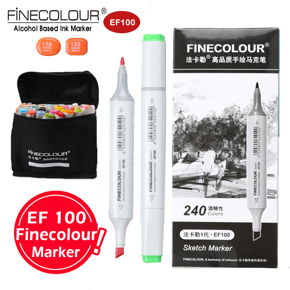 Finecolour EF100 Dual Alcohol Art Markers Artist Pens 36/48/60/72 Set Manga/Clothes/Interior/Industry/Landscape Design Markers touchnew 60 colors artist dual head sketch markers for manga marker school drawing marker pen design supplies 5type