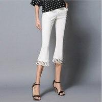 NADANBAO 2017 Summer Women Pants Lace Hollow Out Short Pants Skinny White Women Elegant OL Work