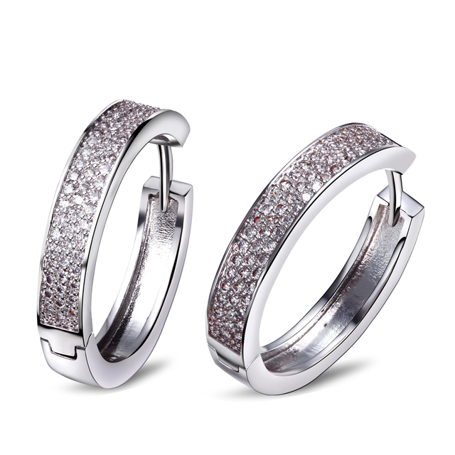 DC1989 New Hoop Earrings for Women Synthetic Cubic Zirconia Micro Paved Rhodium Plated Lead Free Silver Pins Girls' Party Jewel