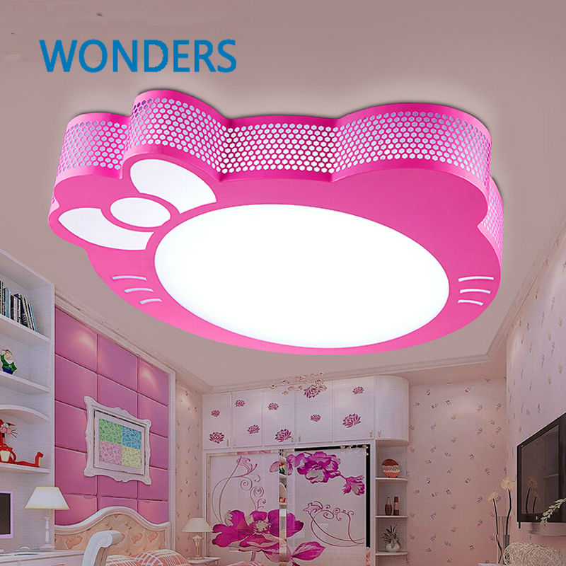 New Cute Hello Kitty Led Ceiling Light Lamp For Simple Creative Cartoon Boys Girls Bedroom Ceiling Lights Children Reading Room ...