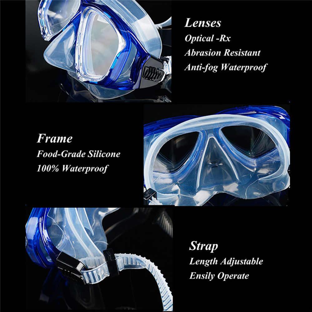 Kit de engrenagem de mergulho óptico conjunto de snorkel miopia, força diferente para cada olho, míope máscara de mergulho superior seco