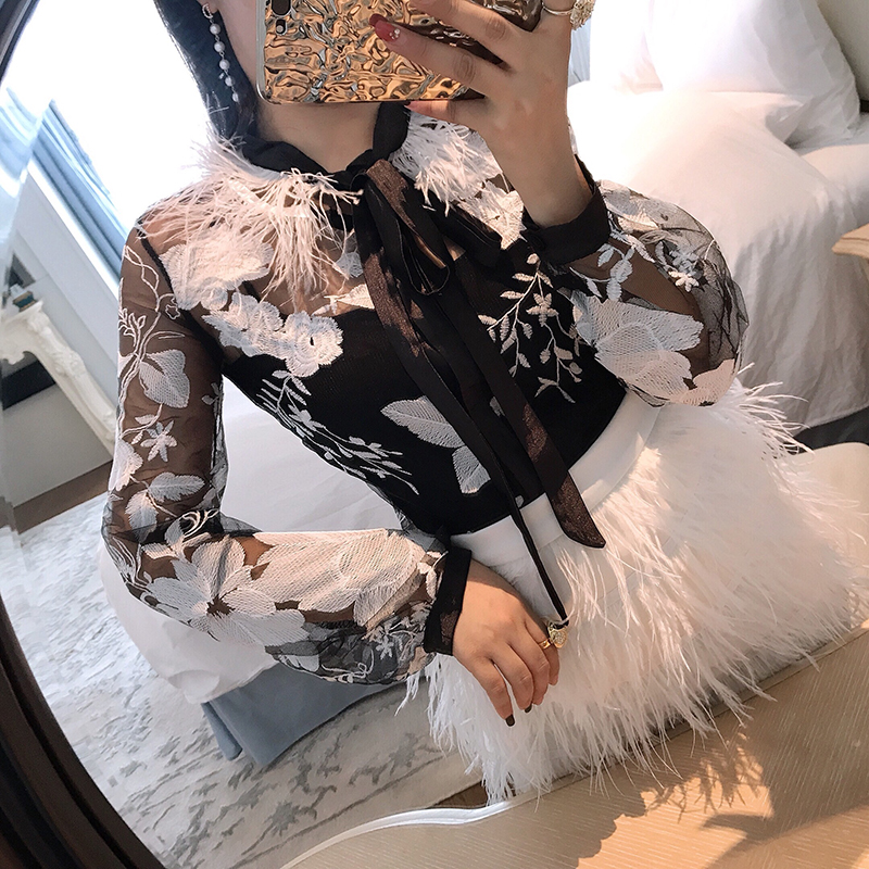 ALPHALMODA Spring Summer New Model Women's Clothing Fashion Sexy Feather Neckline Embroidery Lace   Blouse     Shirt