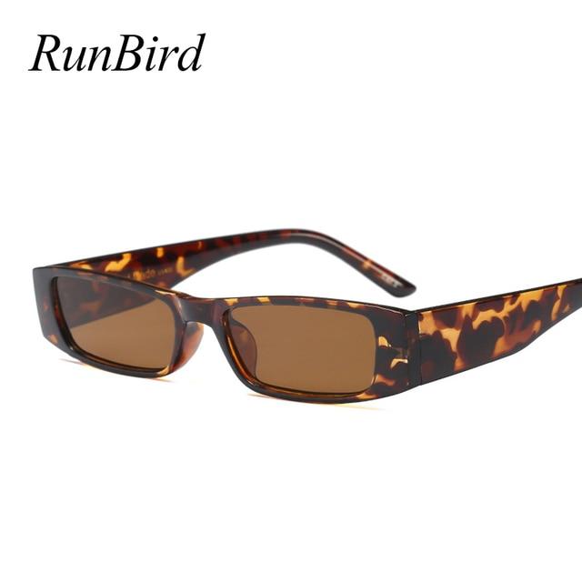f6891219117b8 RunBird Retro Pequenos Óculos De Sol Retangular Presente Mulheres Leopardo  Vermelho Quadrado Preto Olho de Gato