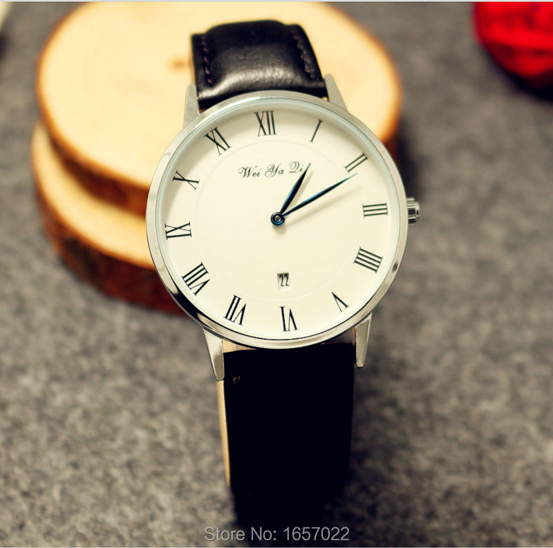 Men Women Luxury Brand Promotion Daniel Style Leather Calendar Business Waterproof Wristwatches For Couple Watch With Blue Hand