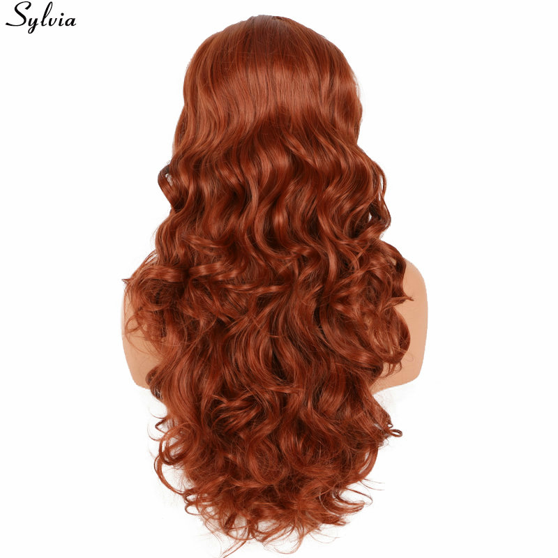 Sylvia Soft Long Body Wave 350# Orange Copper Red Heat Resistant Hair Wigs Synthetic Lace Front Wig Free Parted Natural Hairline