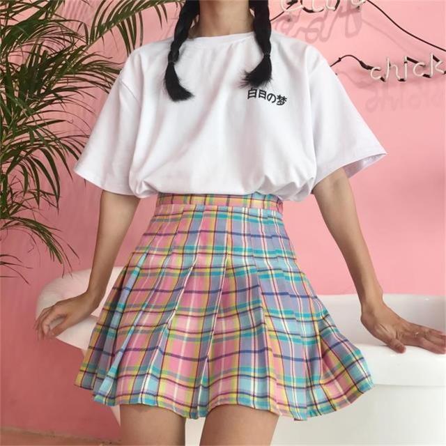 82dceaea6fb women s skirts Ladies kawaii College Rainbow Gradient Plaid Pleated skirt  Wild Female korean harajuku summer clothing for women
