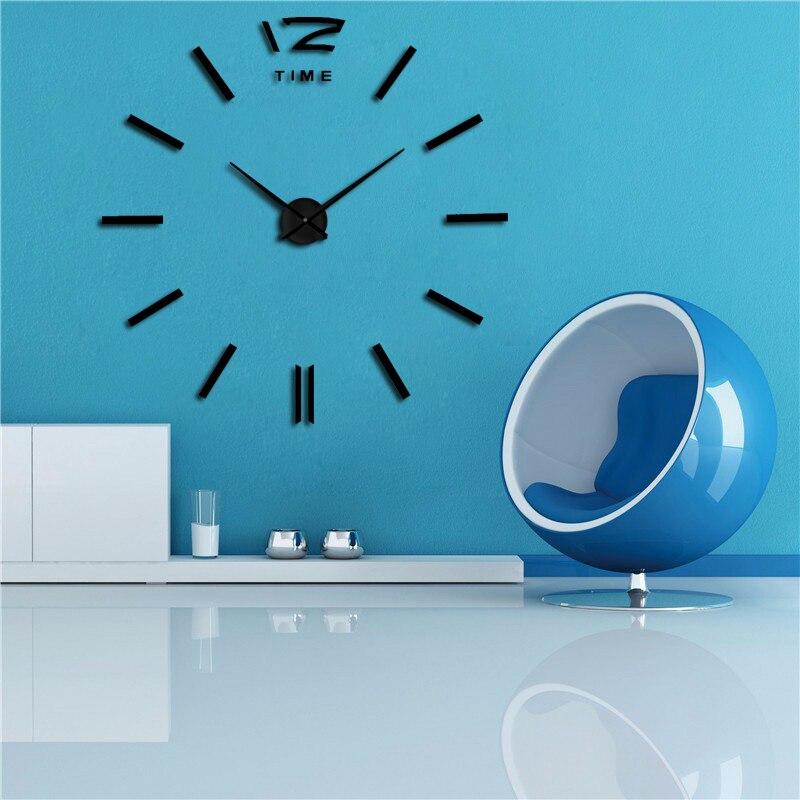 2020 muhsein3D large minimalist style wall sticker clock DIY acrylic metal mirror large personalized decorative wall hanging tab