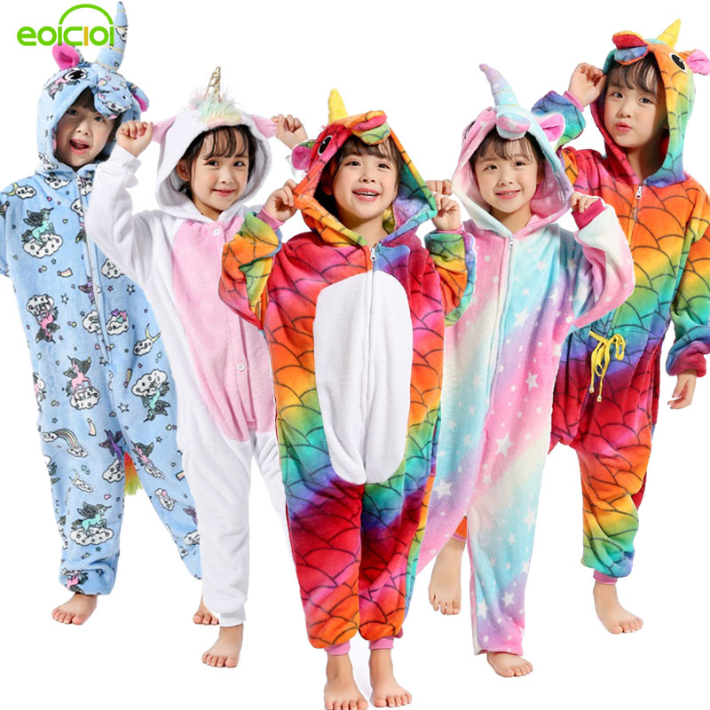 EOICIOI 22 New Style Kids Pajamas Winter Flannel Animal Unicorn Pikachu Pegasus Cat Boys Girls Pajamas Onesie Children Sleepwear christmas rainbow unicorn animal family onesie pajamas