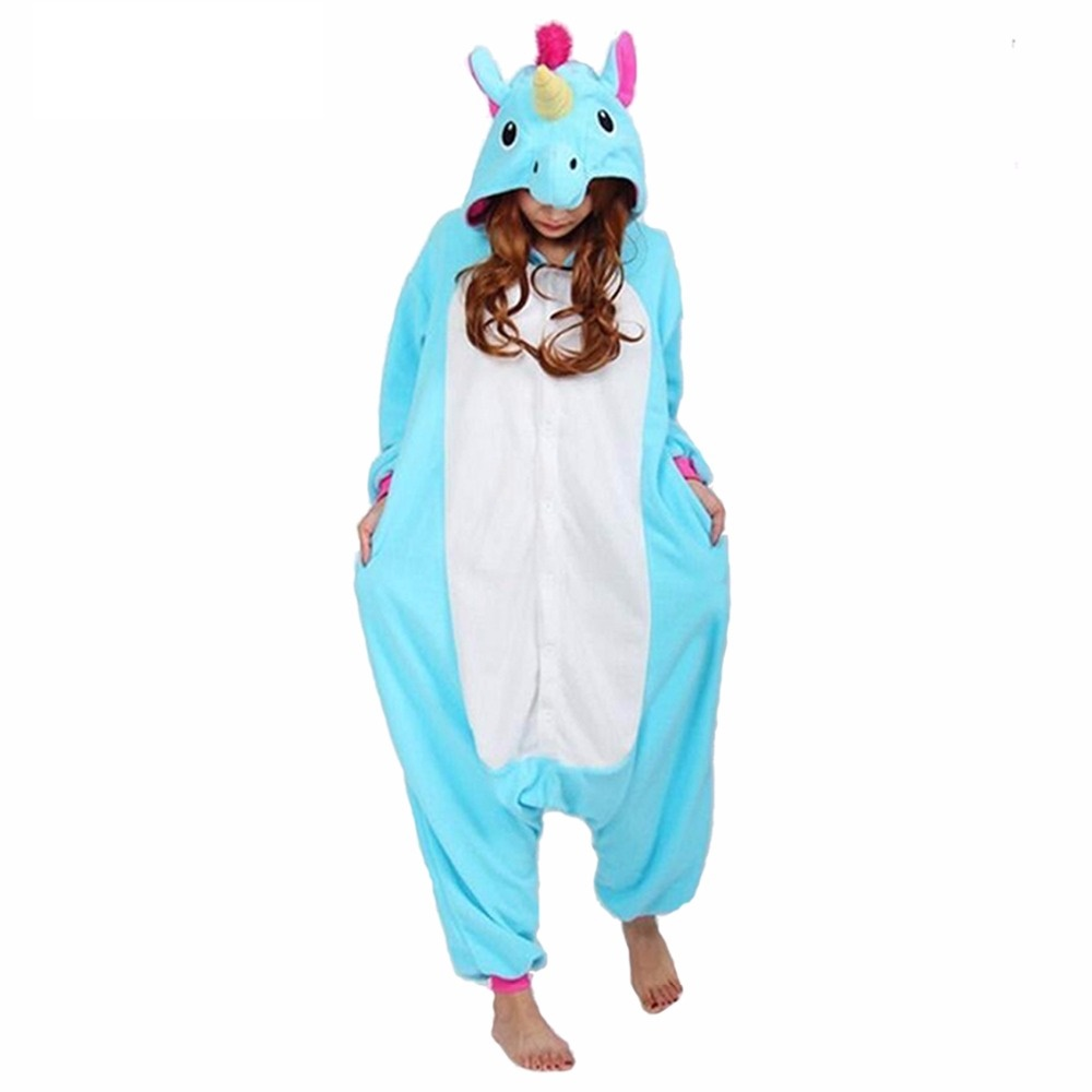 Dropshipping Pink Horse Pajamas Sets Flannel Animal Pajamas Winter Nightie Stitch Horse Sleepwear for Women Men Adults