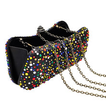 Multicolored Women Black Satin Crystal Evening Clutch Bags (8 colors)