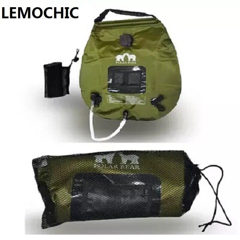De haute qualité D'été 20L camping en plein air randonnée conduite Auto tour solaire chauffage avec Thermomètre De Douche Pliante Sac D'eau Chaude