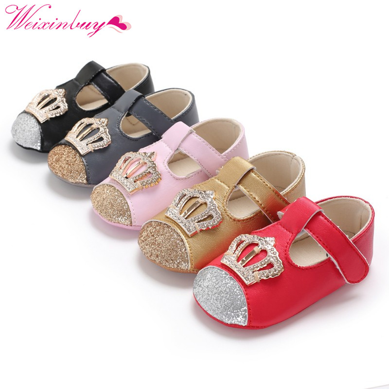 Baby Shoes Newborn Baby Girl Shoes PU Crown Bling Fashion Princess Shoes First Walker PU Baby Gift Spring