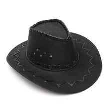 Black  1Pcs Fashion Cowboy Hat Suede Look Wild West Fancy Dress Mens Ladies Unisex High Quality
