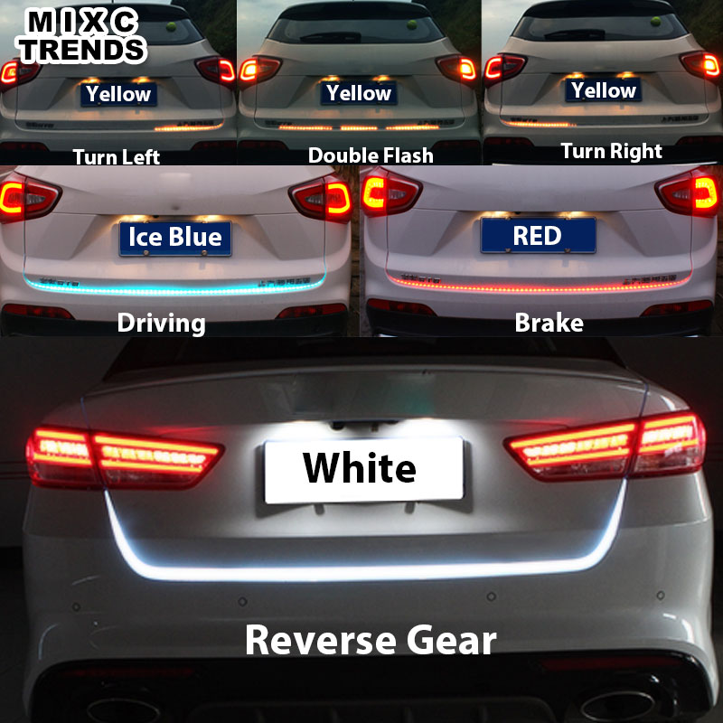 150cm Turn Signal Amber Flow led strip trunk light White Red Blue luggage led warning Tail lamp Rear Reverse Strip Brake Lights палатка onlitop призма 150 стандарт в95т1 white blue 1176215