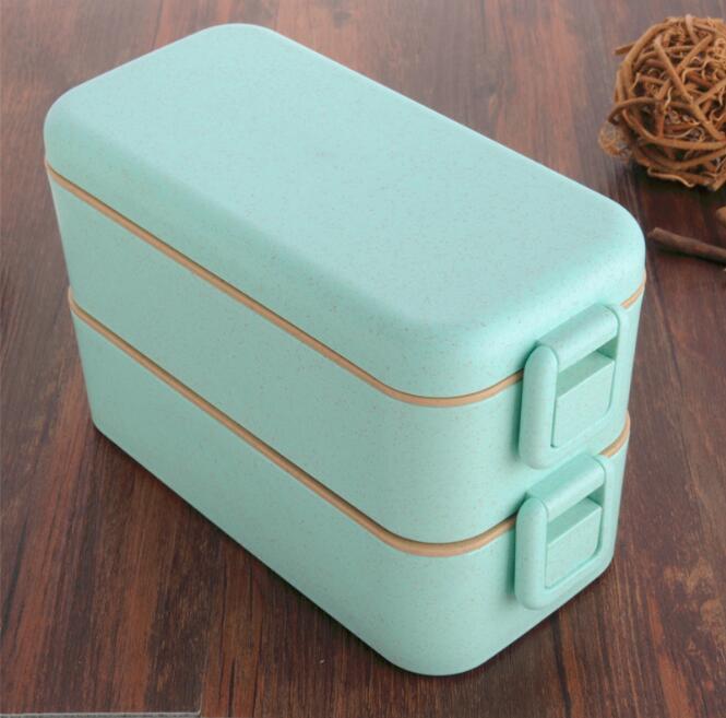 800 ml Hohe Qualität Mittagessen Box Doppel Schicht Weizen Stroh Bento Boxen Mikrowelle Lebensmittel Lagerung Container Lunchbox BPA FREI