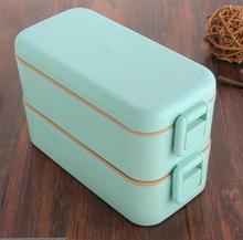 800ml High Quality Lunch Box Double Layer Wheat Straw Bento Boxes Microwave Food Storage Container Lunchbox BPA Free