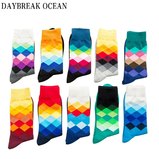 Big Size 20 Pcs=10 pairs/Lot Gradient Colorful Combed Cotton Socks Men Casual Fashion Autumn Crew Socks Funny Happy Men Socks
